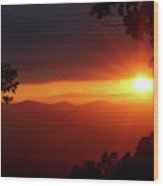 Sunset Over The Blue Ridge Mountains Wood Print