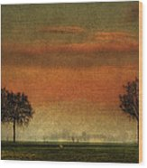 Sunset Over The Country Wood Print