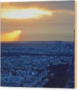 Sunset Over The Eiffel Tower Wood Print
