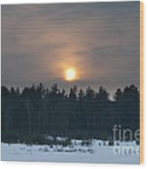 Sunset Over  The Forest Wood Print