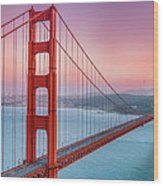Sunset Over The Golden Gate Bridge Wood Print