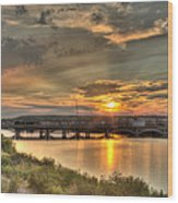 Sunset Over The Great Falls Wood Print