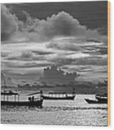 Sunset Over The Gulf Of Thailand Black And White Wood Print