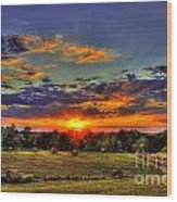 Sunset Over The Hay Field Wood Print