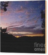 Sunset Over The Hills Wood Print