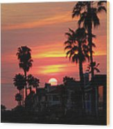 Sunset Over The Homes Of Newport Beach Wood Print
