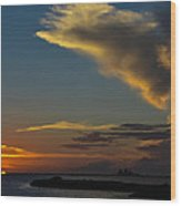 Sunset Over The Laguna Madre Wood Print