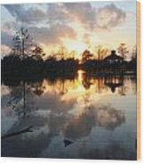Sunset Over The Lake Wood Print