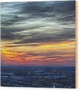 Sunset Over The Metro Wood Print