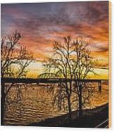 Sunset Over The Mississippi River Wood Print