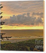 Sunset Over The Pacific Ocean Wood Print