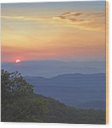 Sunset Over The Pisgah National Forest Wood Print