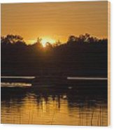 Sunset Over The Pontoon Wood Print