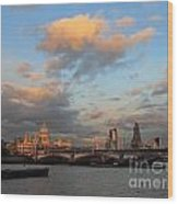Sunset Over The River Thames London Wood Print