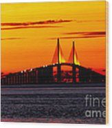 Sunset Over The Skyway Bridge Crop Wood Print
