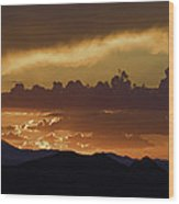Sunset Over The Tucson Mountains Wood Print