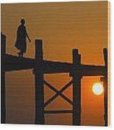 Sunset Over The U Bein Foot Bridge Wood Print