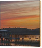 Sunset Over The Wando River Wood Print