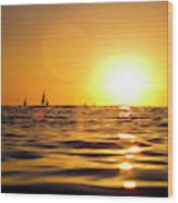 Sunset Over The Water In Waikiki Wood Print