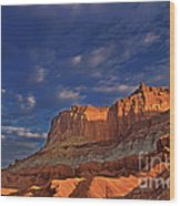 Sunset Over The Waterpocket Fold Capitol Reef National Park Wood Print