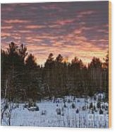 Sunset Over The Winter Forest Wood Print