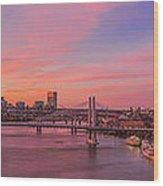 Sunset Over Tilikum Crossing Wood Print