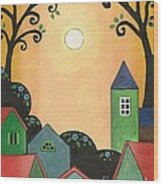 Sunset Over Town Wood Print