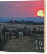 Sunset Over Tuscany In Italy Wood Print