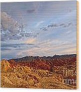 Sunset Over Valley Of Fire State Park In Nevada Wood Print