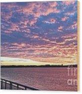 Sunset Over Verrazano Bridge And Narrows Waterway Wood Print