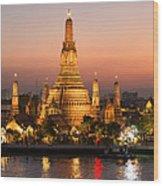 Sunset Over Wat Arun Temple - Bangkok Wood Print