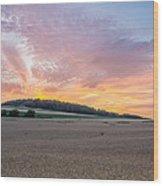 Sunset Over Wheat Wood Print