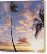 Sunset Palm Trees In Hawaii Wood Print
