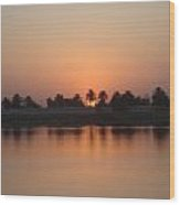 Sunset Palms Over Lake Wood Print by Sharla Fossen
