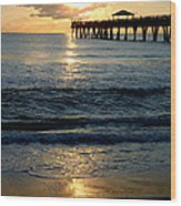 Sunset Pier Wood Print by Carey Chen