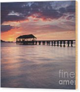 Sunset Pier Wood Print by Mike  Dawson