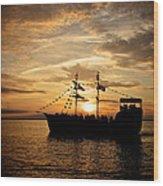 Sunset Pirate Cruise Wood Print