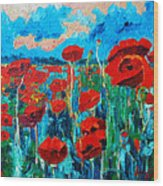 Sunset Poppies Wood Print