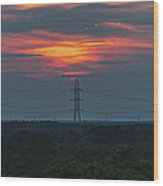 Sunset Power Over Pine Barrens Nj Wood Print