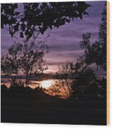 Sunset Purple Sky Wood Print