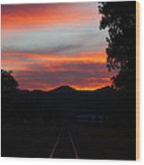 Sunset Rail In The Rogue Valley Wood Print
