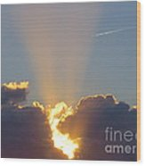Sunset Rays Bursting Through The Clouds With Jet Stream From Aircraft. Wood Print