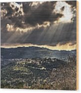 Heavens Lights Over Jerusalem Wood Print