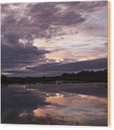 Sunset Reflected In A Lake Wood Print