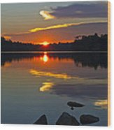 Sunset Reflection On The Lake Wood Print