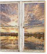 Sunset Reflections Golden Ponds 2 White Farm House Rustic Window Wood Print