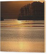 Sunset Reflections Tomales Bay In Marin County California Wood Print