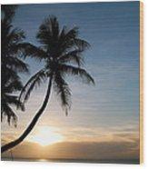Sunset Rincon Wood Print by Wanda Leon