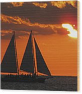 Key West Sunset Sail 3 Wood Print