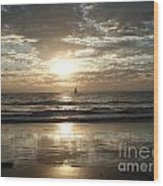 Sunset Sail Wood Print by Crystal Joy Photography